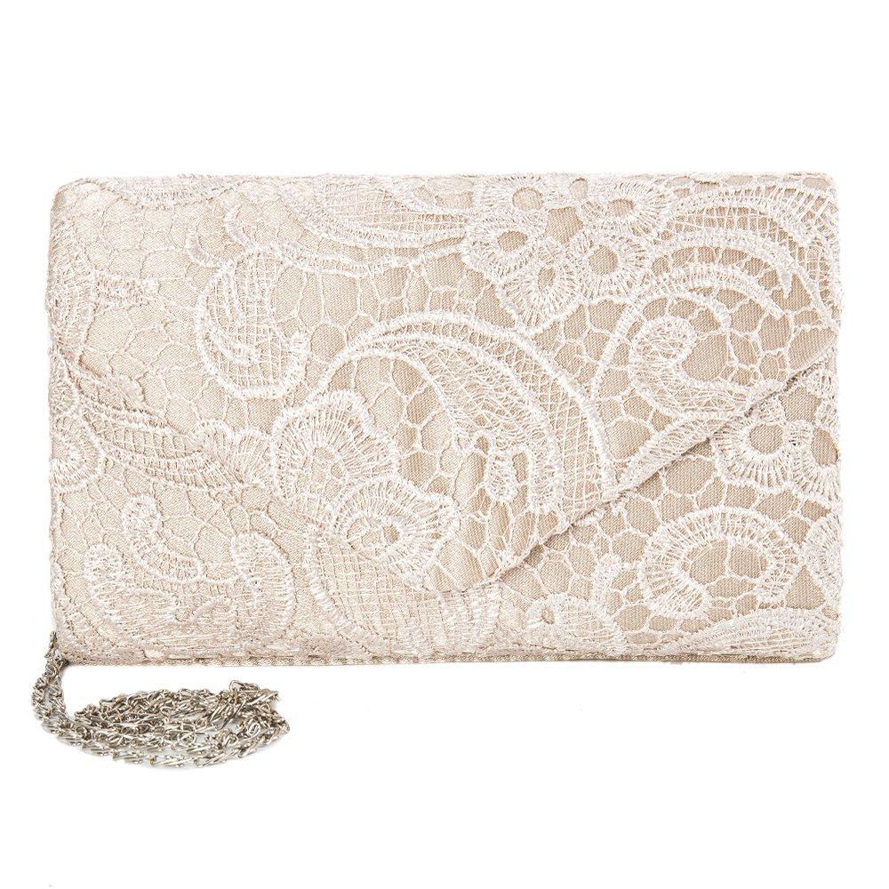 elfisheu Damen Abendtasche Spitze Elegant Clutch Handtasche mit Kette fü r Hochtzeit Party Iraza