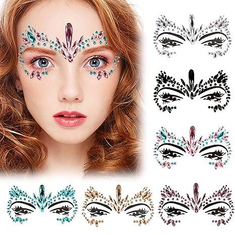 84c83fa2c Kapmore Cara Gemas, 6 Piezas Rhinestone Cara Joyas Festival del Tatuaje  Ojos Rave Frontal Pegatinas