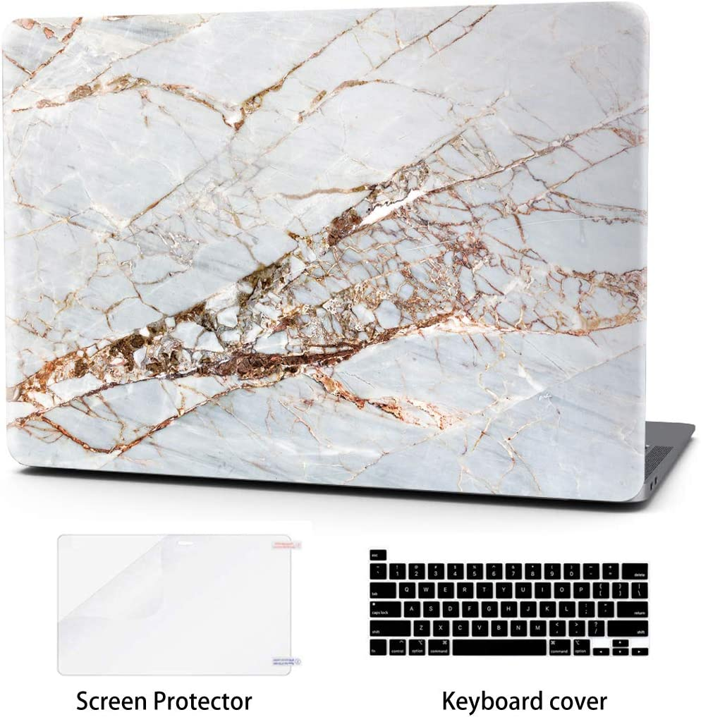 Laptop Case for MacBook Pro 16 Inch Keyboard Cover Plastic Hard Shell Touch Bar 3 in 1 Bundle with Screen Protector for Mac Pro 16 '' (A2141),Gold Slash Marble