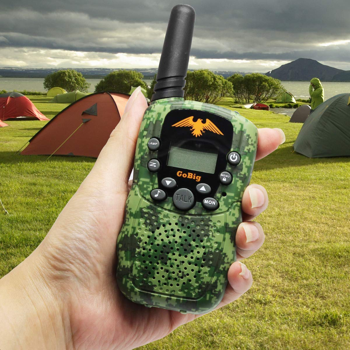 GoBig Walkie Talkies for Kids Voice Activated Walkie Talkies for Adults and Kids 3 Mile Range 2 Way Radio Walkie Talkies Built in Flash Light Camo Green (2 Pack) by GoBig (Image #5)
