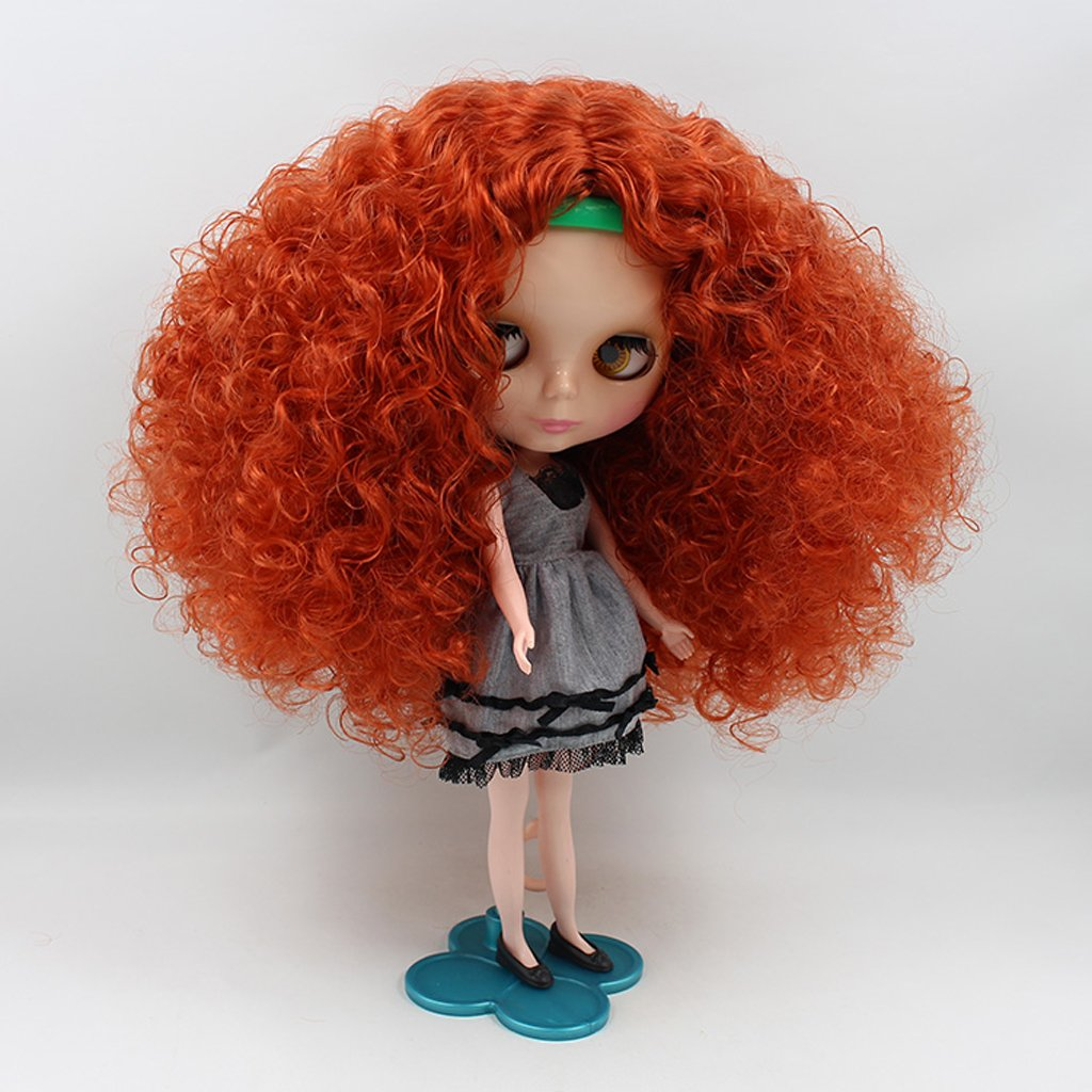 Baoblaze Fashion Long Explosive Curly Hair Dolls Wig Head Scalp Shell Kit for 12inch Neo Blythe Pullip Custom DIY Making Orange