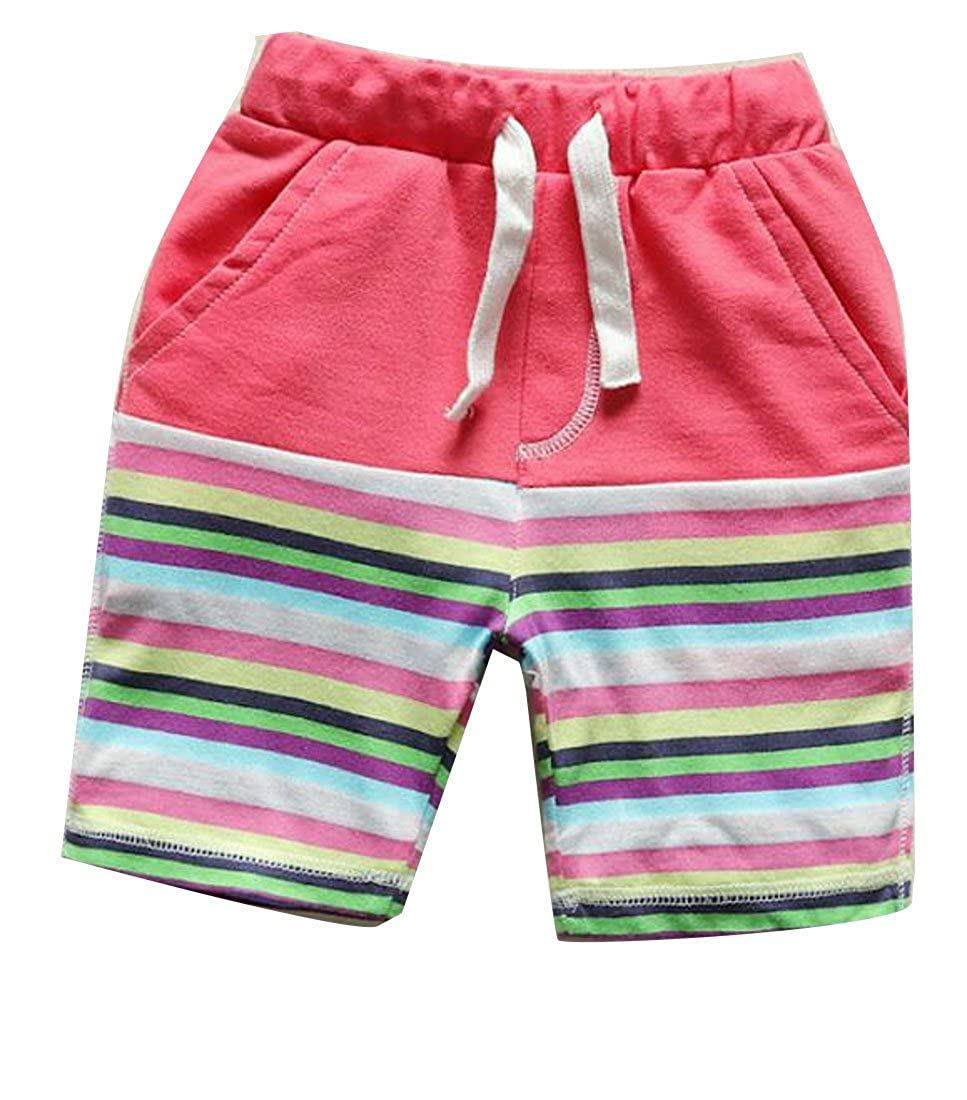 Pandapang Boys Casual Strings Cotton Beachwear Stripe Elastic Waist Shorts