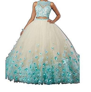 10f8a823768 HofnDolce 2018 Two Pieces Sleeveless Quinceanera Dress Open Back Hand Made  Flower Ball Gowns at Amazon Women s Clothing store