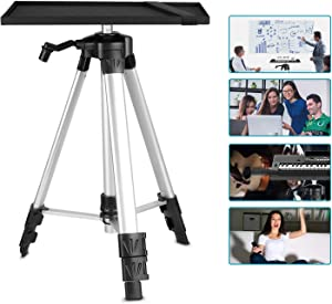 Neewer Aluminum Tripod Projector Stand, Adjustable Laptop Stand, Computer Stand with Plate and Carry Bag, Adjustable Height 18-47.6inches for Projectors/Laptops/Photography/DJ Equipment (Silver)