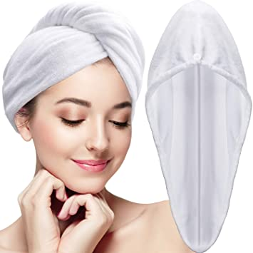 Amazon.com : Tatuo 4 Pieces Microfiber Hair Towel Wrap Turbie Hair Towel Twist Head Wrap Hair Turban Cap Quick Dry Microfiber Head Towel for Women Girl ...