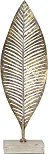 "Creative Co-op Large Gold Wood Base Metal Leaf, 19.5"""