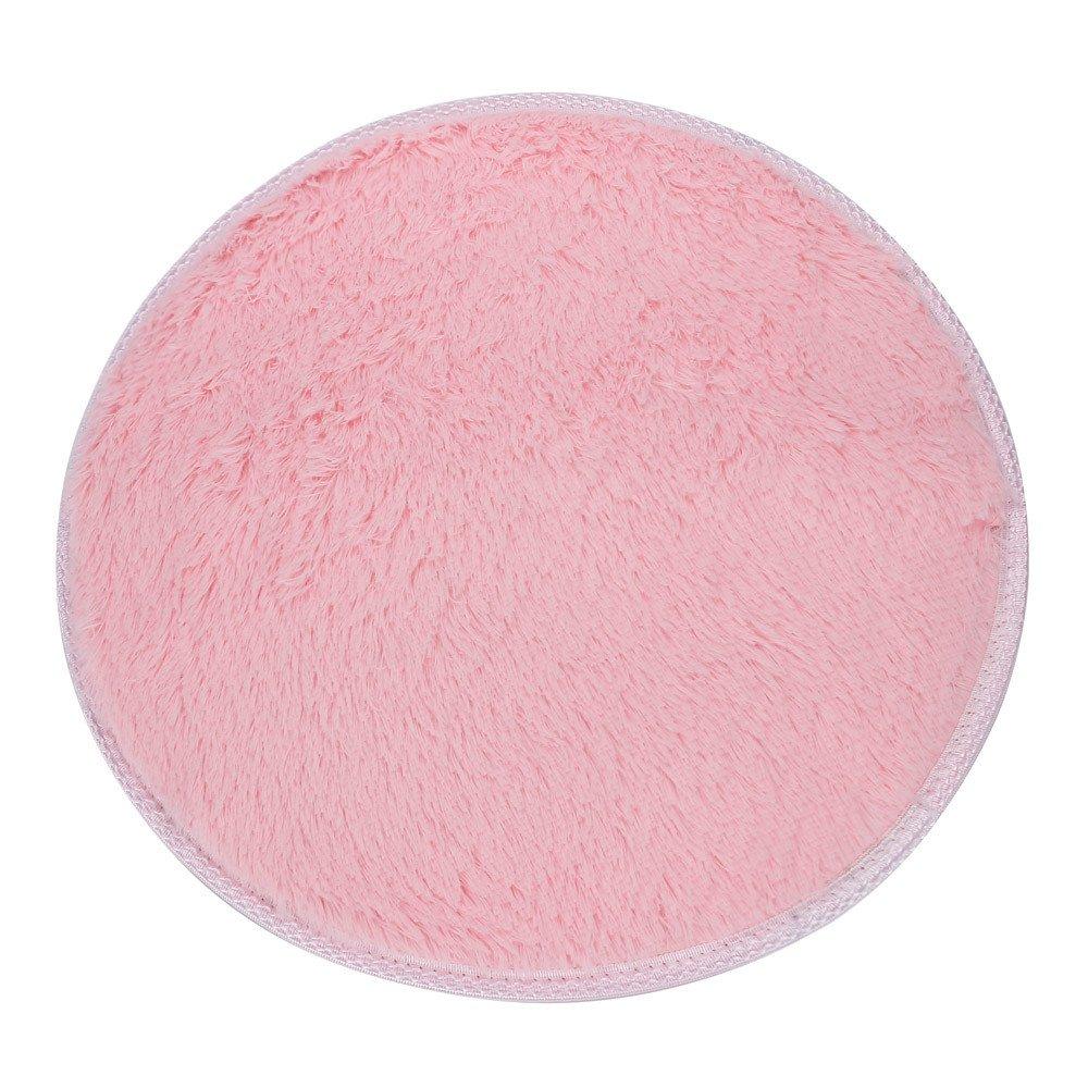 Round Carpet, Yezijin Soft Bath Bedroom Floor Shower Round Mat Rug Non-Slip - Diameter: 16 inch (Pink)