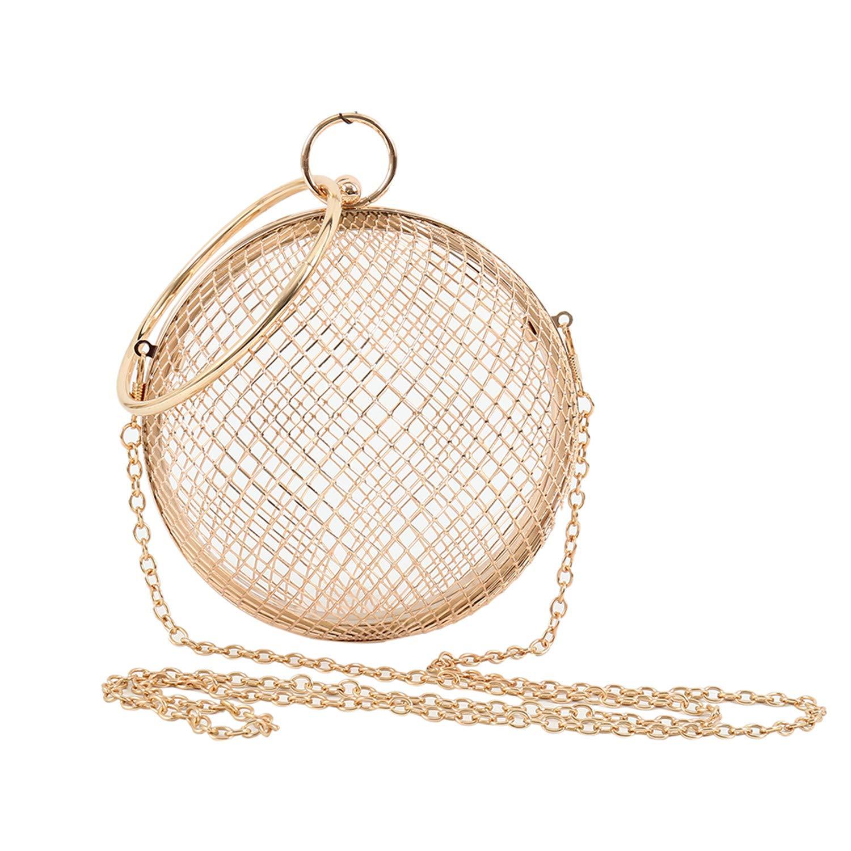 Hollow Metal Ball Women Shoulder Bag Evening Ladies Wedding Party CrossBody Purse Handbag