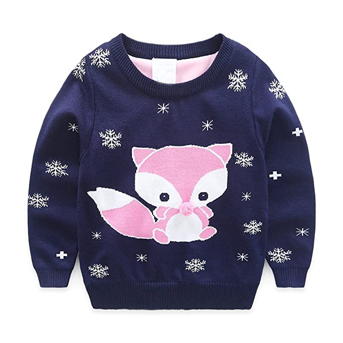 4bc1e4606 Baby Kids Girls Toddler Round Neck Knitted Cartoon Fox Pullover ...