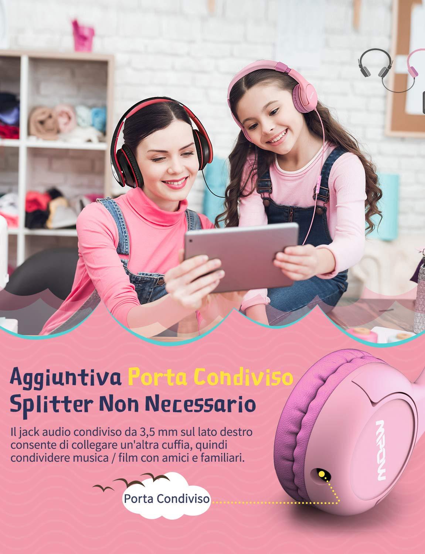 Controllo del Volume e del Microfono Cuffie Stereo Limitativa del Volume a 85Db e Funzione di Condivisione per iPhoneX//Samsung//PC Cuffie per Bambini Mpow CH1 Cuffie Auricolari con Cavo Bambini etc