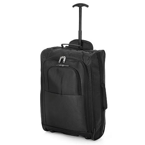 Eono Essentials Maleta de viaje de dos ruedas, apta como equipaje de cabina, 53,3 cm (55 x 35 x 20 cm, negra)