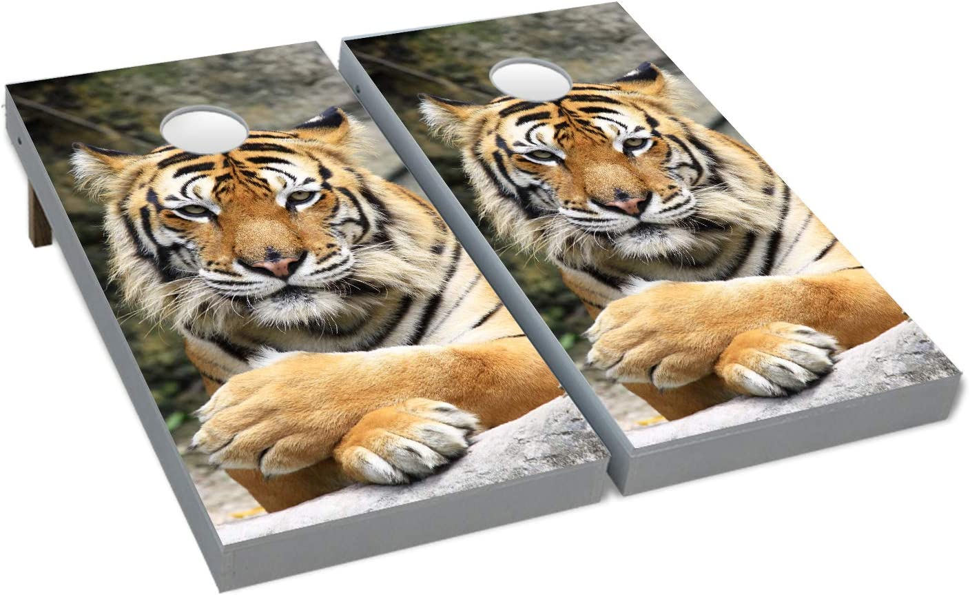 Cornhole Patient Wild Tiger Boards BEANBAG TOSS GAME w Bags Set 4
