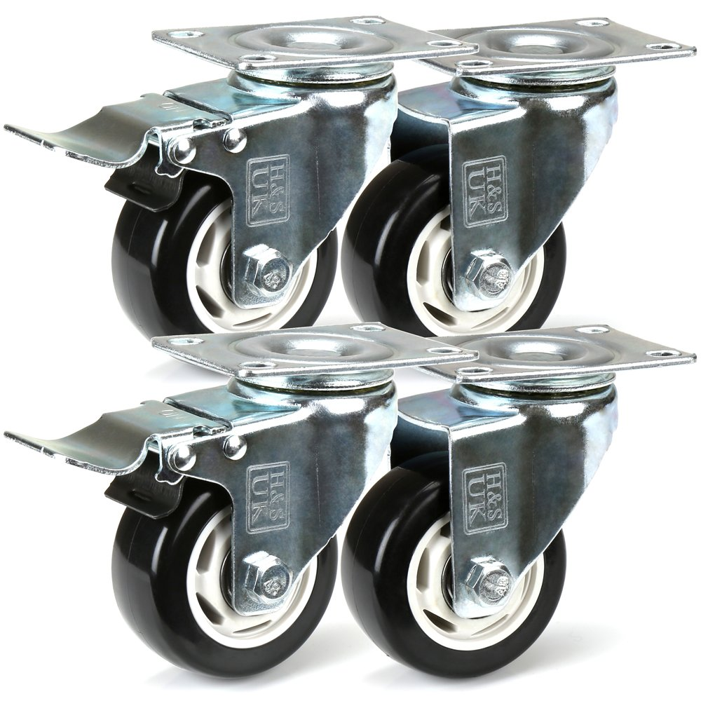 H&S® 4 Heavy Duty 75mm PU Swivel Castor Wheels Trolley Furniture Caster with Brakes - 400KG H and S Alliance UK Ltd
