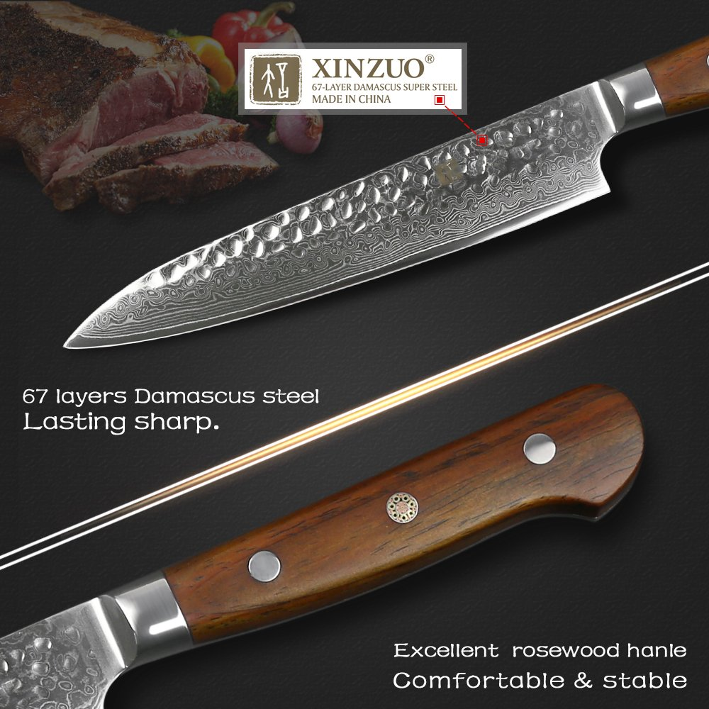 XINZUO Cutlery 6 inch Utility Knife Japanese VG-10 Damascus Steel Kitchen Knife Fruit Knife Peeling Razor Sharp Hammered Finish with Rosewood Handle - Yun Series by XINZUO (Image #3)