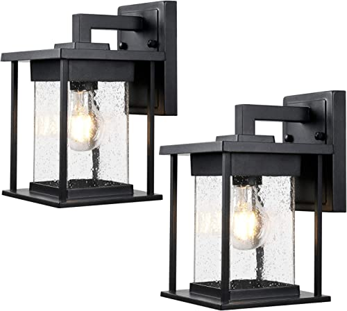 Osimir Outdoor Wall Sconce, 2 Pack Modern Outdoor Light Fixtures Wall Mount in Black Finish with Seeded Glass, 8597 1WM-2PK