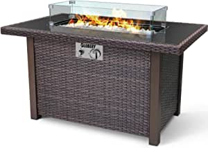 BLUBERY 44'' Propane Fire Pit Table, 50,000 BTU PE Rattan Gas Fire Pit with Black Tempered Glass Tabletop, Glass Wind Guard, Auto-Ignition, White Glass Stone, ETL CERT