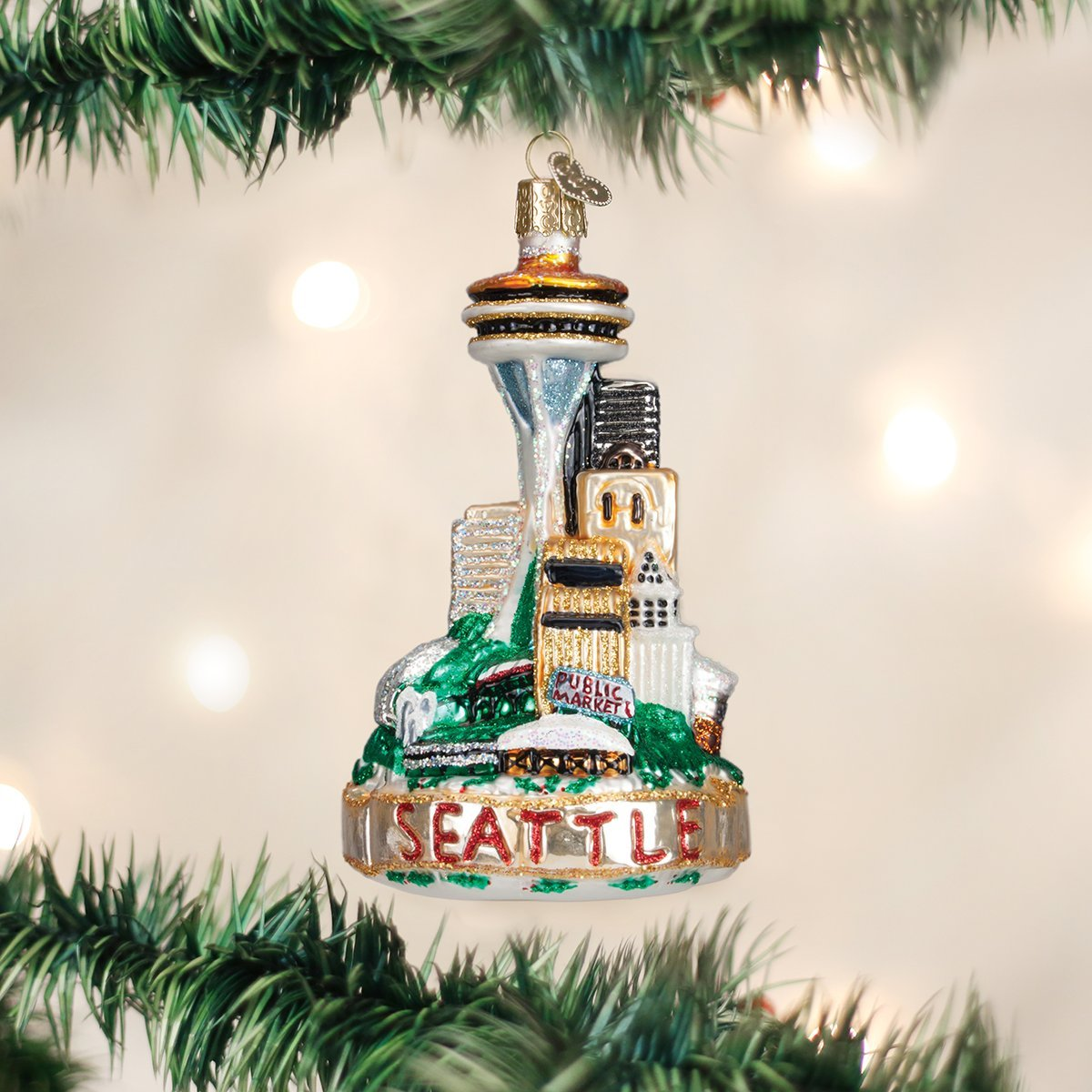 Amazon.com: Old World Christmas Seattle Skyline Glass Blown Ornament ...