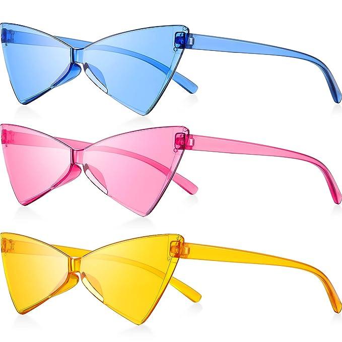 Amazon.com: 3 gafas de sol de ojo de gato sin bordes, estilo ...