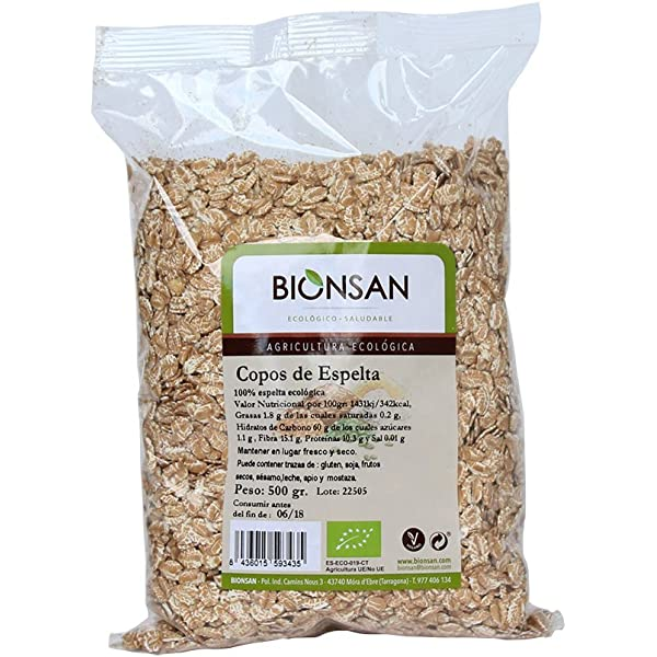 Bionsan Copos de Trigo Espelta Ecológica | 6 Paquetes de 500 gr ...