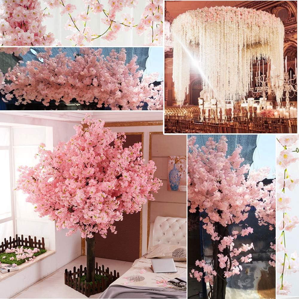 Maison VINFUTUR 2pcs 4.5m Fleurs de Cerisier Artificielles en Soie Suspendues Guirlande Vigne pour D/écoration de Mariage Rose Clair