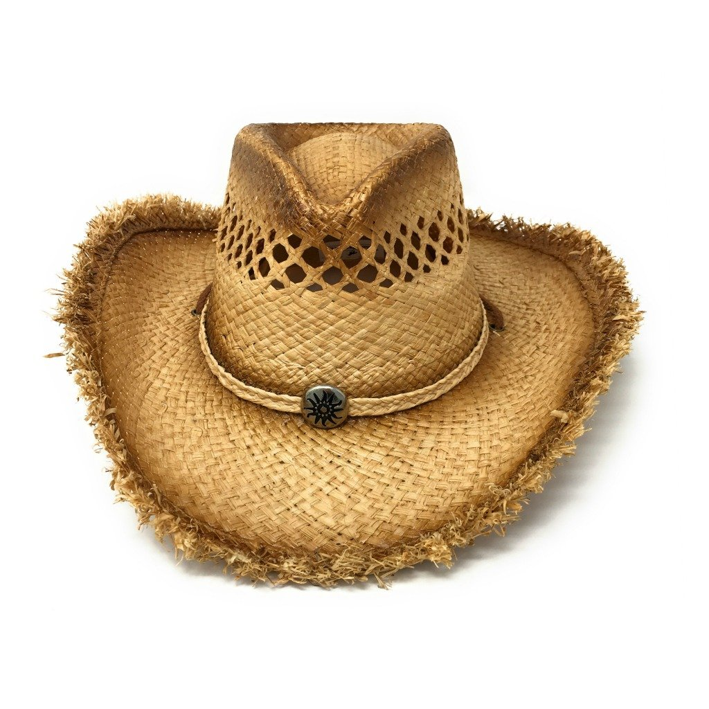 7bf29c4e442 Raffia Straw Cowboy Hat with Sun Stamped Metal Concho at Front and Rope  Chin Strap (Large XL - 59cm-61cm)  Amazon.co.uk  Clothing