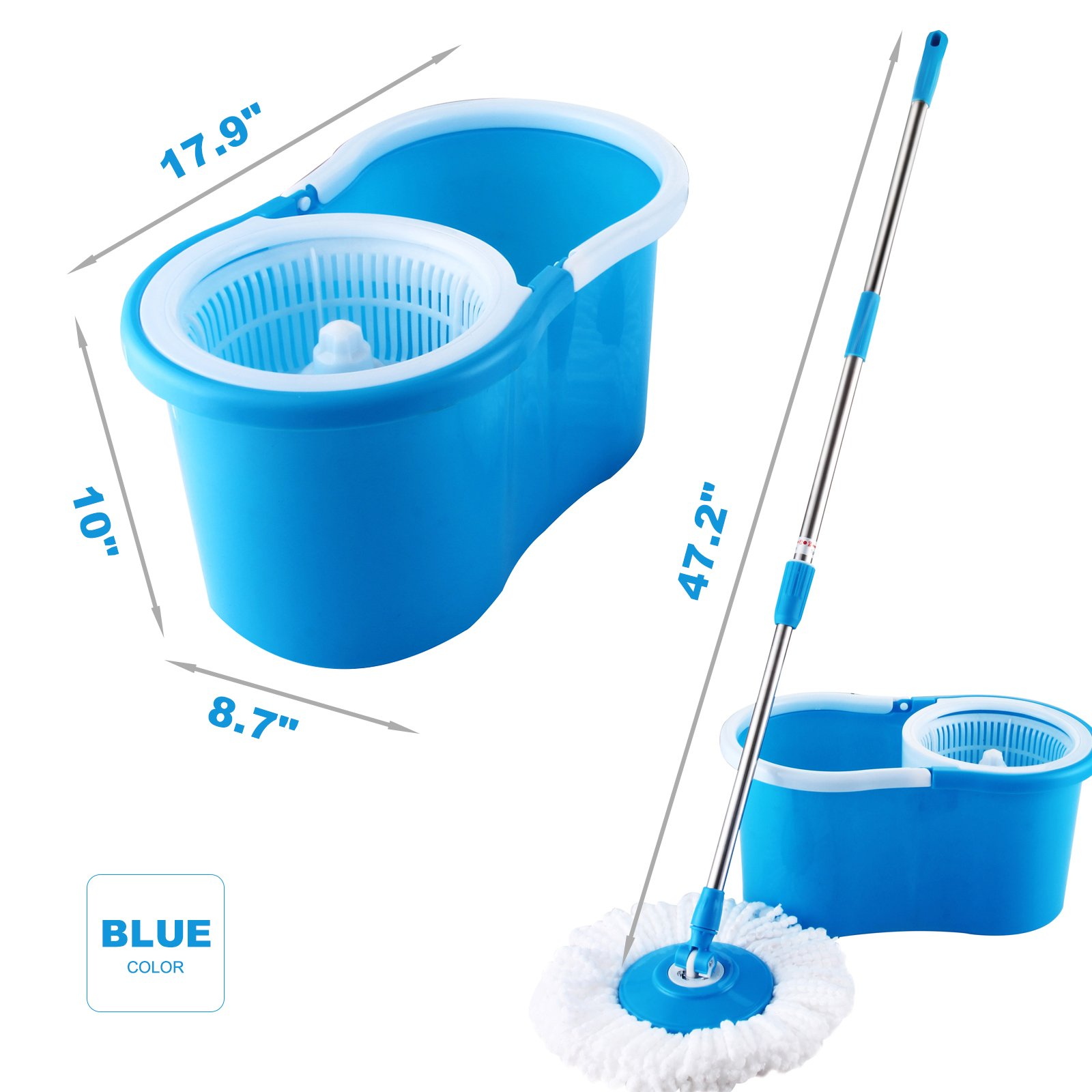 Mecor Spin Mop Bucket System-Microfiber Spinning Mop W/Bucket, 2 Microfiber Mop Heads-Rotating 360 Degree, Adjustable Handle-For Home Cleaning, Bathroom Equipment-Blue