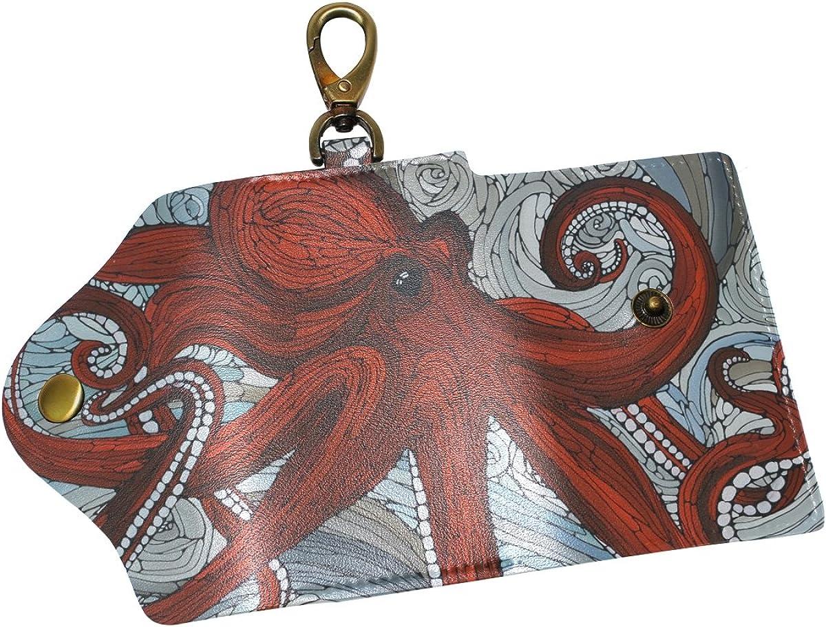 DEYYA Colorful Octopus Leather Key Case Wallets Unisex Keychain Key Holder with 6 Hooks Snap Closure