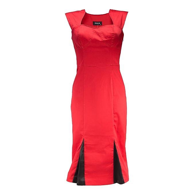 Hearts & Roses Corazones y Rosas Negro y Rojo Plisada lápiz Vestido Rojo Rojo Y Negro