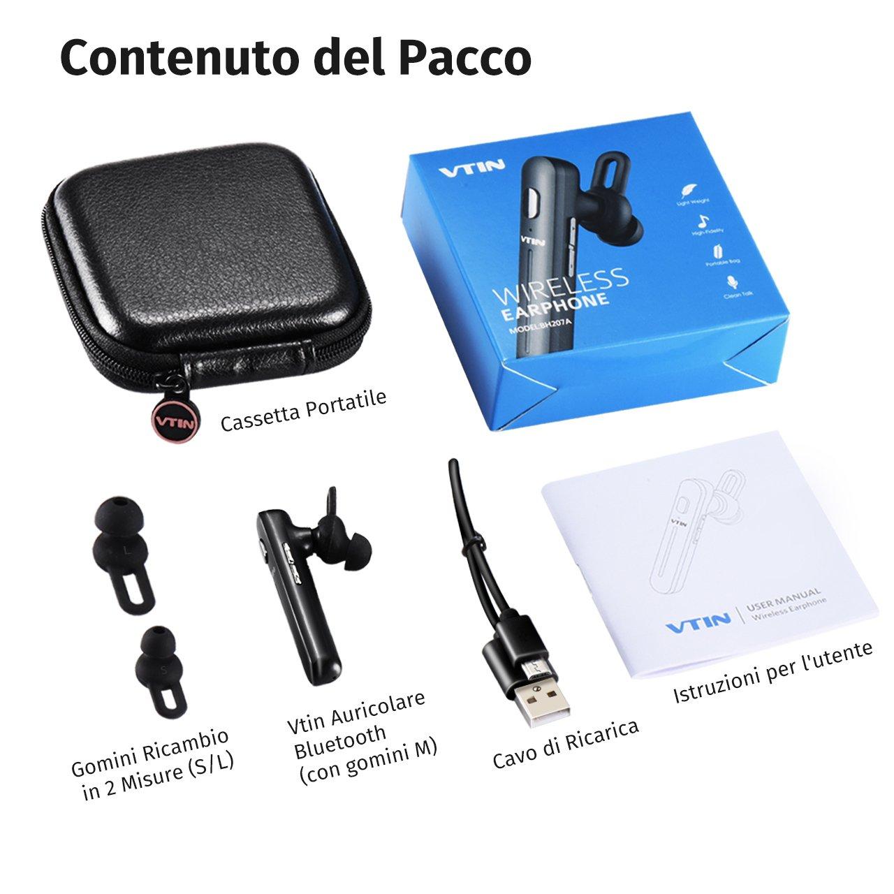 VTIN vtin-207 auricular Bluetooth 4.1 Auricular inalámbrico Bluetooth Mono con micrófono incorporado Manos libres para IOS y Android para oficina, ...