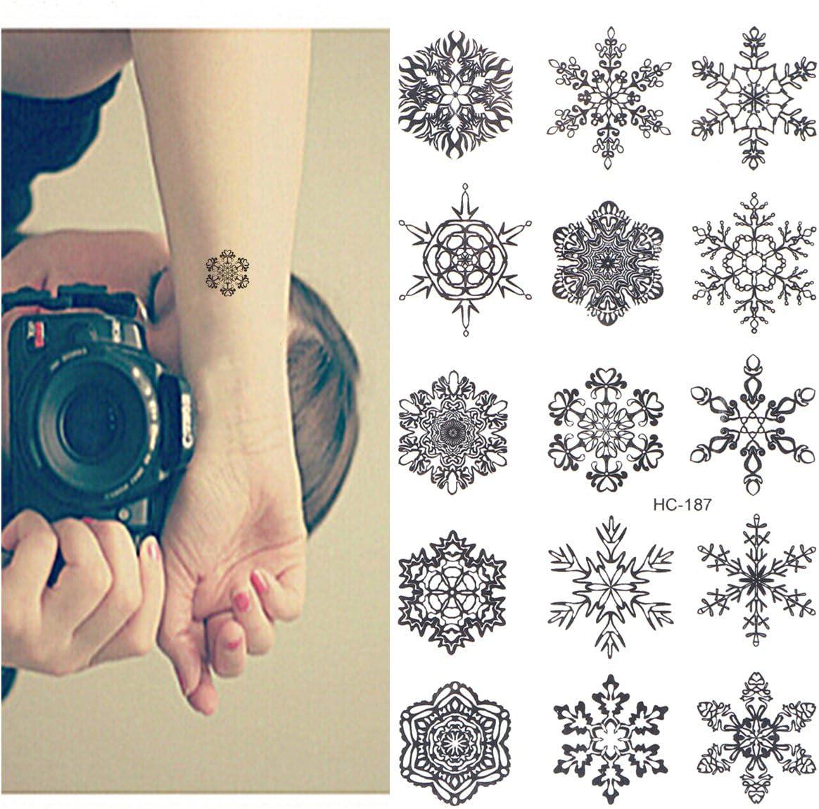 Tinksky Tatuajes Temporales Negro Copos de Nieve Stickers ...