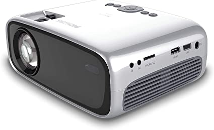 Philips NeoPix Easy (NPX440) Mini and Transportable Projector, 1080p, 2,600 Led Lumens, 80 Inch Display, Built-in Media Player, HDMI, USB, microSD, ...