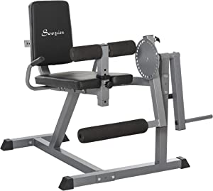 Soozier Adjustable Leg Extension and Curl Training Machine Home Gym Fitness- Black/Grey