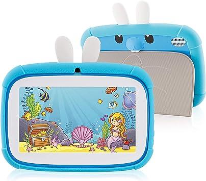 Azul aplicaci/ón educativa Linda Tablet PC con Funda de Silicona Tablet PC Androide Veidoo de 7 Pulgadas 1GB // 16GB Pantalla IPS de 1024x600 Tablet PC para ni/ños
