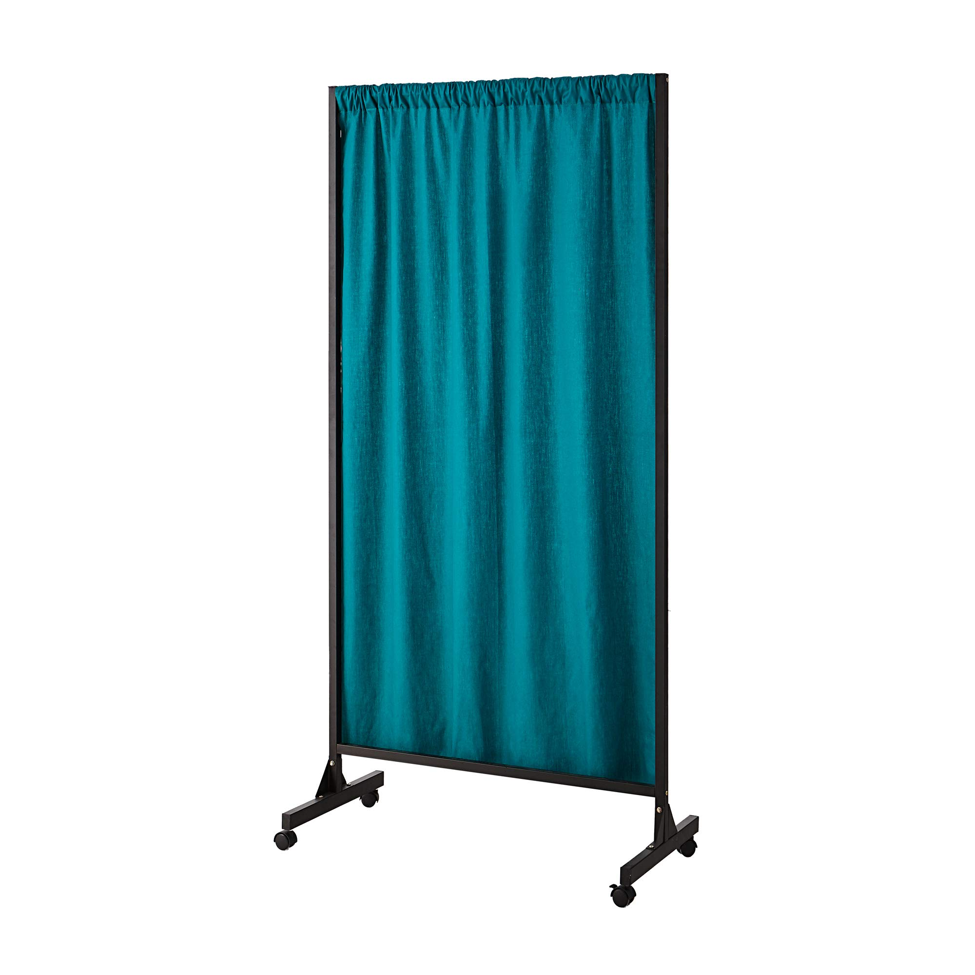 Don't Look at Me - Partial Room Divider - Black Frame with Ocean Depths Teal Cotton Fabric