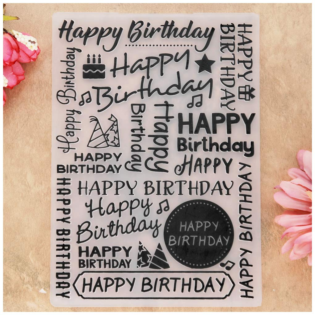 KWELLAM Happy Birthday Cake Star Giftbox Plastic Embossing Folders for Card Making Scrapbooking and Other Paper Crafts