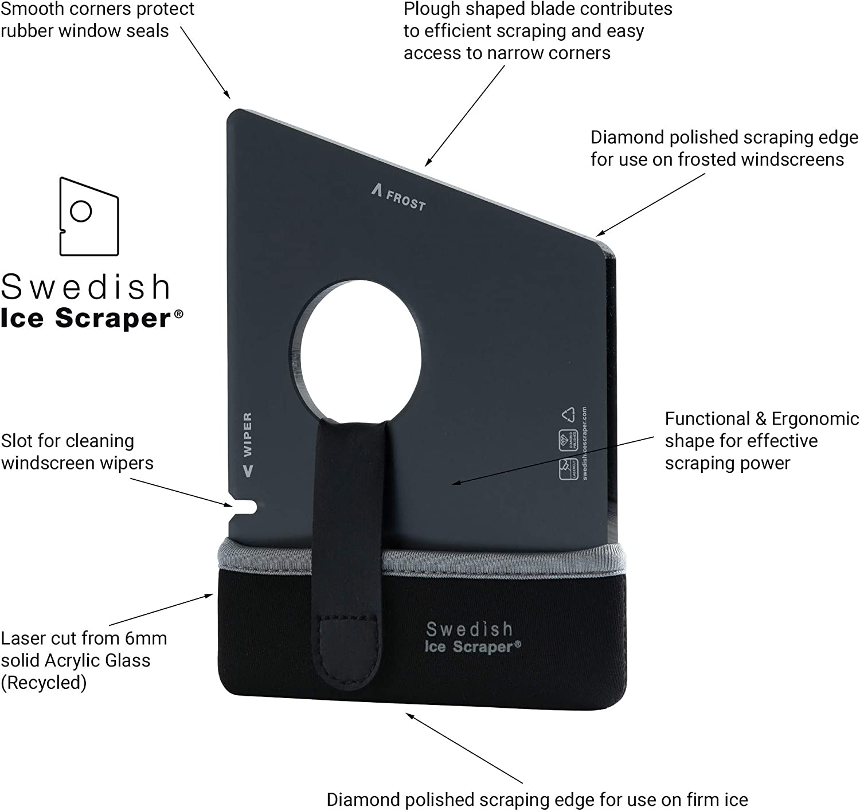 Swedish Ice Scraper 6mm Dark Red with Neoprene Holder and Sleeve