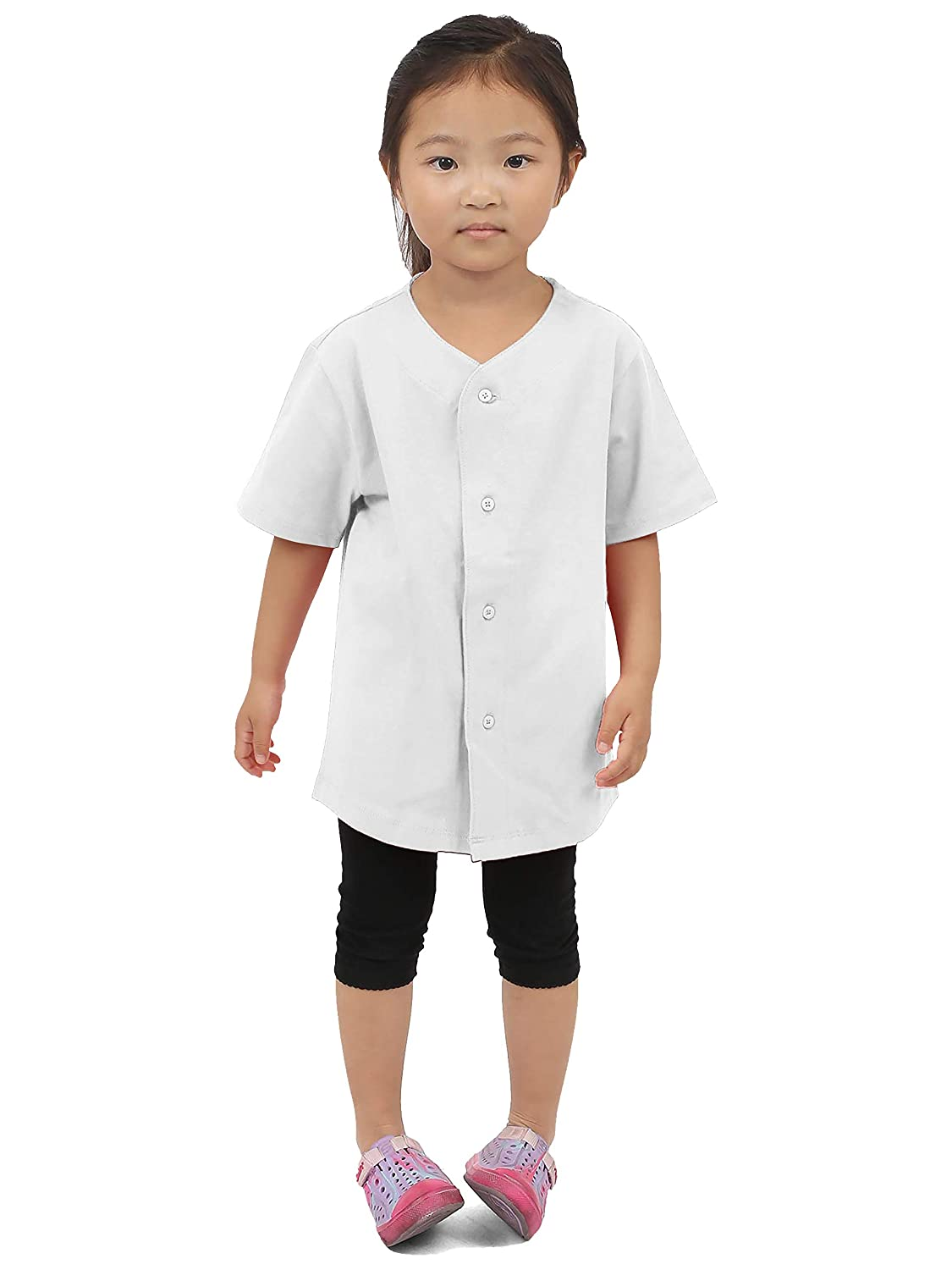 Hat and Beyond Kids Baseball Jersey Button Down T Shirts Active Uniforms