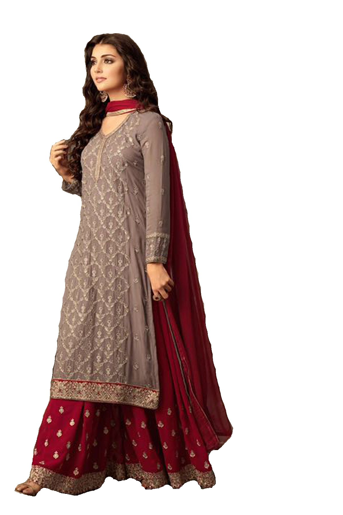 ziya Indian/Pakistani Ethnic wear Georgette Plaazo Salwar Kameez (Red, XL-44)