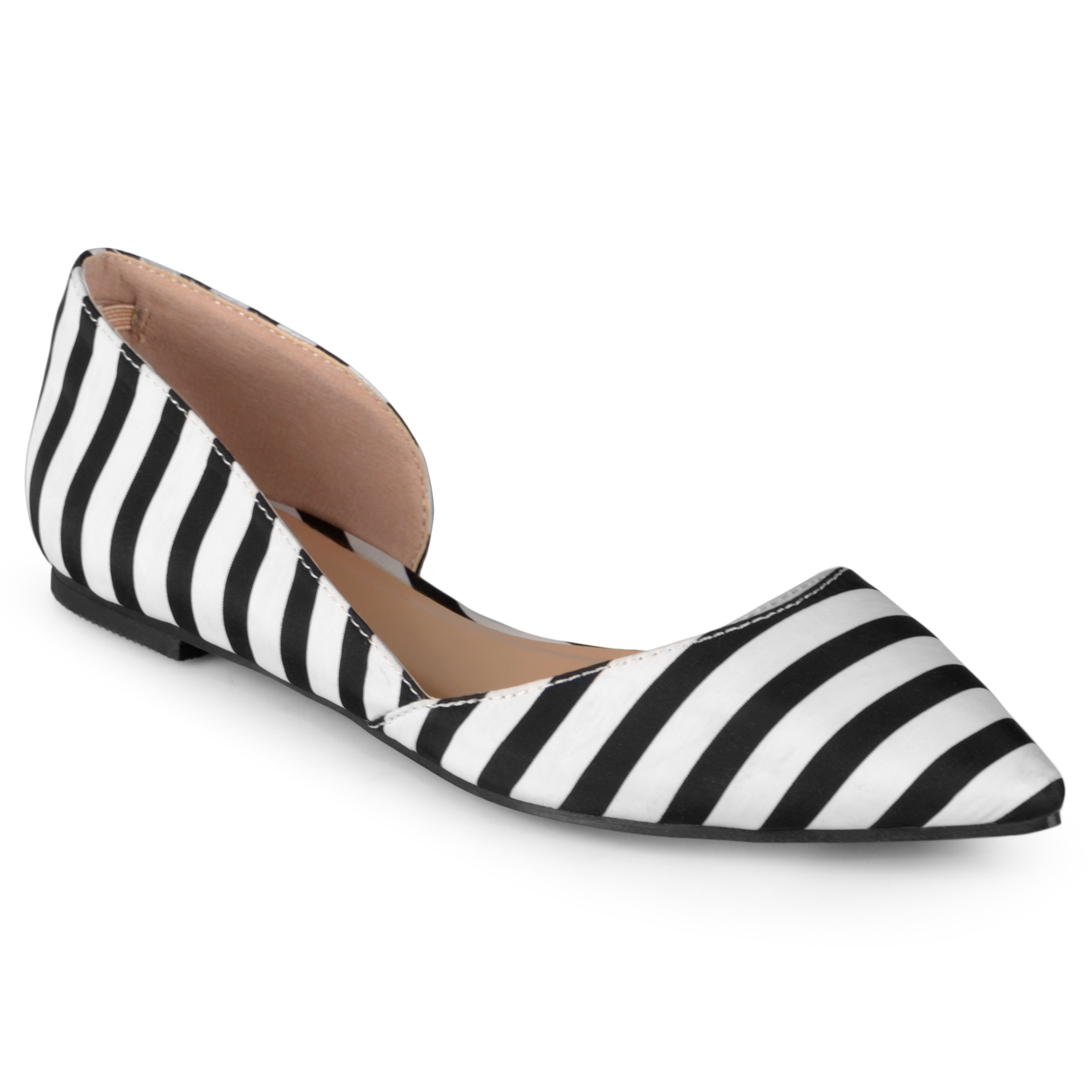 Journee Collection Womens Pointed Toe Cut-Out Flats Black Stripe, 8 Wide Width US