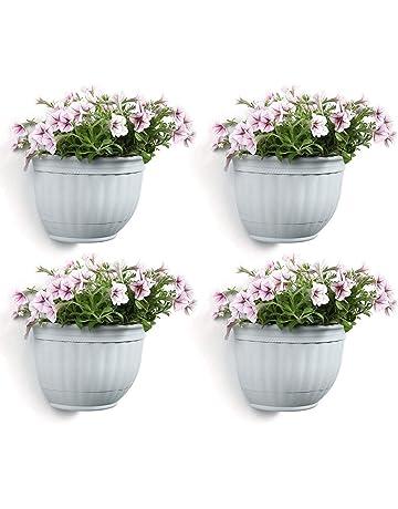 T4U Macetas Pared Plastico Cestas Colgantes, Maceteros Pequeños Resina para Hierbas Flores Plantas Casa y