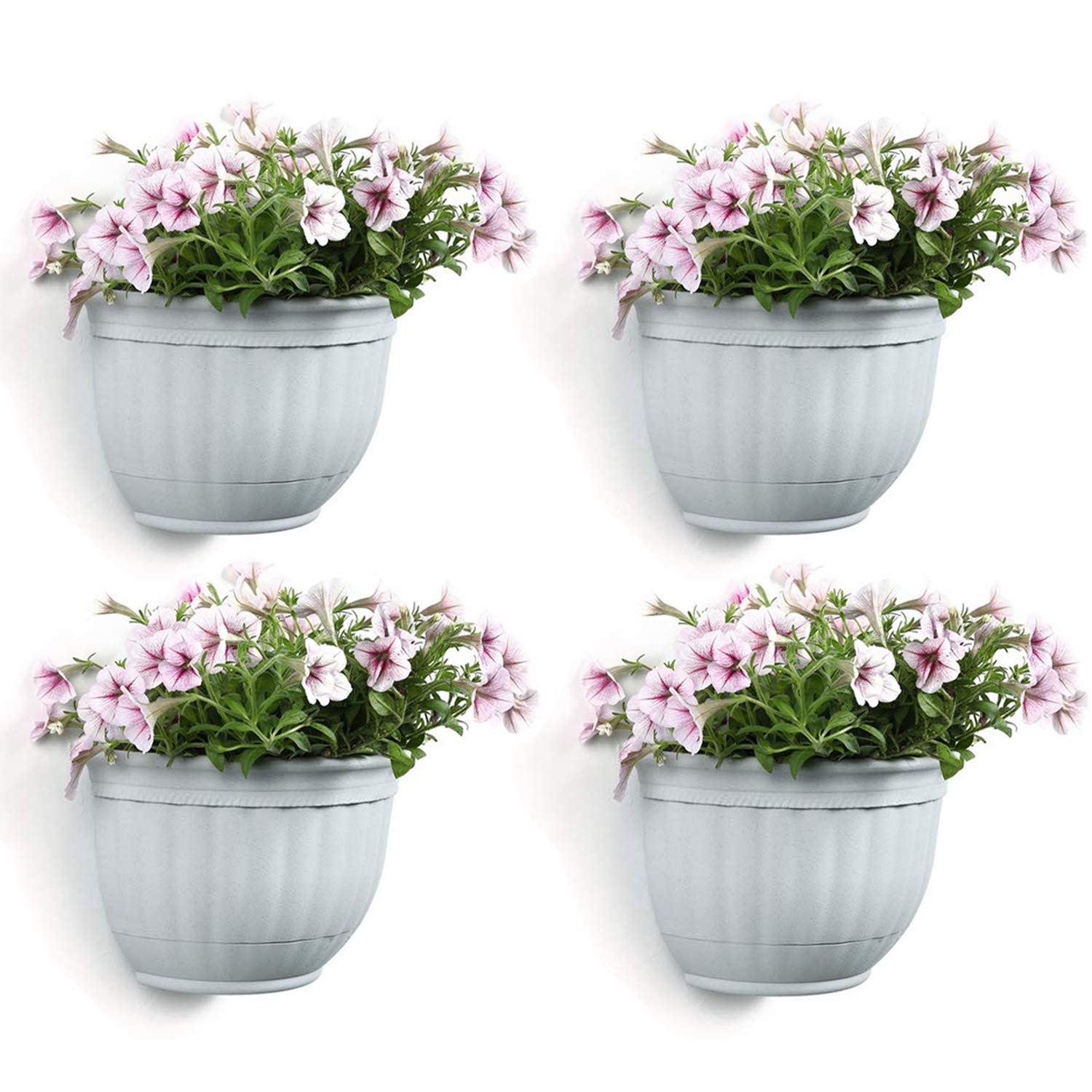 T4U Resin Wall Planter Marble Gray Medium Set of 4, Wall Mounted Garden Plant Flower Pot Basket Container Indoor Outdoor Use for Orchid Herb Succulent Cactus Home Office Porch Wall Decoration Gift
