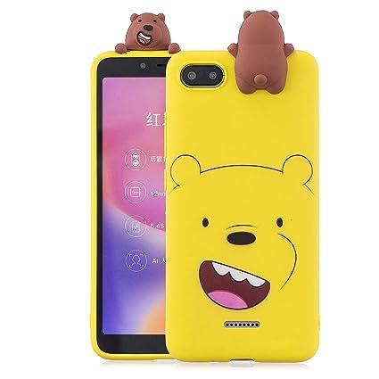 KANTAS Funda Xiaomi Redmi 6A, Carcasa de Silicona Cover Soft Silicone Case Ultra Fino Dibujos Animados Protección Carcasa para Xiaomi Redmi 6A, Oso ...
