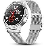 Redlemon Smartwatch Reloj Inteligente Premium de Correa Metálica con Monitor de Ritmo Cardiaco y Presión Arterial, Notificaci