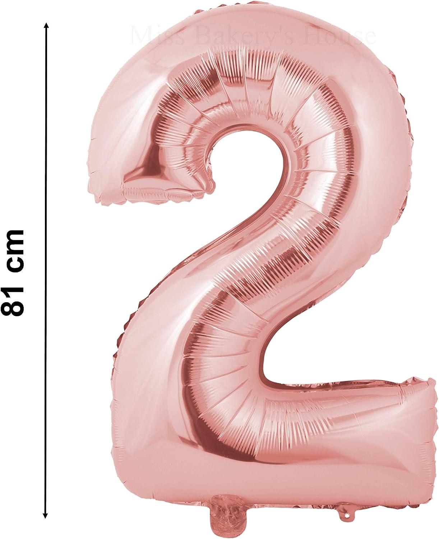 Miss Bakerys House/® Ballon m/étallique h/élium 81 cm argent/é Chiffre 0
