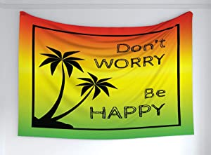 """Ambesonne Rasta Tapestry, Dont Worry Be Happy Music Words of Iconic Singer Palms Ombre Colors, Fabric Wall Hanging Decor for Bedroom Living Room Dorm, 60"""" X 40"""", Lime Green"""