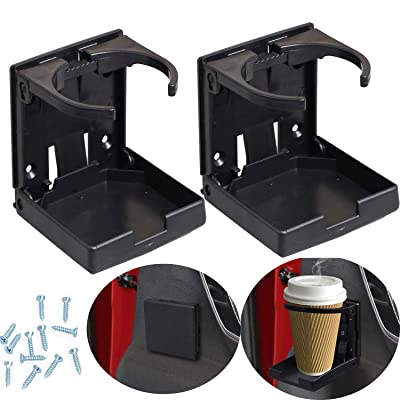WedFeir 2PCS Adjustable Folding Drink Holder with Screws and Tapes, Folding Automotive Cup Holders for Car Truck Boat Van. (Black): Automotive