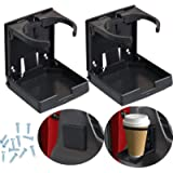 2pcs Adjustable Folding Cup Drink Holder with Screws and Tapes, Adjustable Automotive Cup Holders for Car TRUCK BOAT VAN…