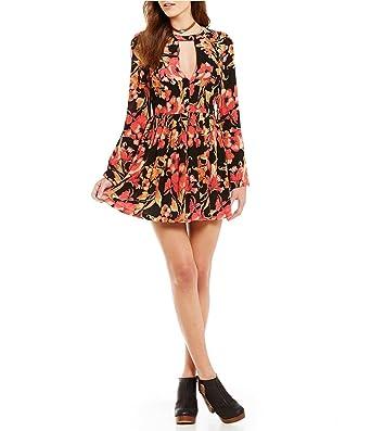 987f5e03f51a3 Free People Tegan Printed Cutout Mini Dress Black Size 10 at Amazon Women's  Clothing store: