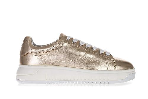 4683554e Emporio Armani Donna Scarpe Sneakers in Pelle con Suola Alta Oro ...