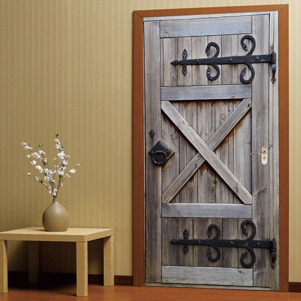 YIZUNNU 2Pcs/Set New Art Decor Home Creative DIY 3D Door Stickers Old Wood Door Pattern For Living Room Door,15x78.7 Inch x2Pcs